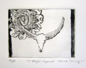 O'Keefe Inspired Original Drypoint Etching with sun design