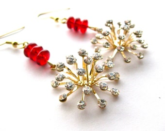 Holiday Sparkle - Red Rhinestone Christmas Earrings