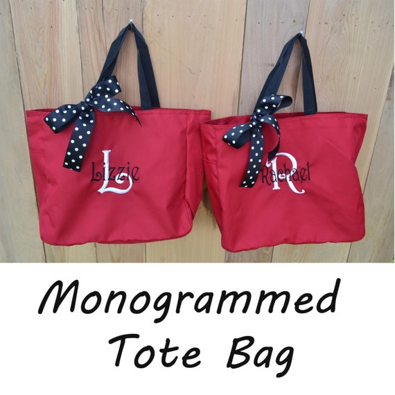 10  Bridesmaid Gift- Personalized Bridemaid Tote - Wedding Party Gift - Maid of Honor-Personalized Bridesmaid Tote Bags