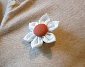 White Fabric Flower Brooch, Flower Pin - Handmade Fabric Flower