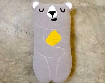 Bear Plush Toy, GRAY Bear Toy, Bear Doll, Teddy Bear, Huggable Bear, Honey Bear, Bear Pillow, Bear Cushion, Nursery Toy, Cot Toy