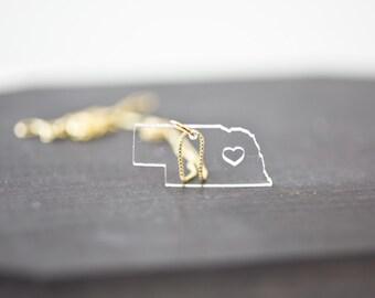 Nebraska State Necklace - Clear - Gold Nebraska Necklace NE Pendant Acrylic Nebraska Necklace State Shaped Necklace State Charm With Heart