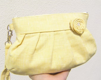 Yellow Clutch, linen janbag wristlet, bridesmaid clutch, gift for her, cosmetic bag, travel,