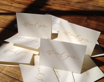 15-pack mega-deal Calligraphy Gold Thank You letterpress cards