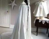 Snow Queen full length hooded cape wool or velvet with train bridal cape