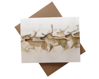 Reindeer Caribou Card - card 6 pack - nature Christmas card, winter solstice, holiday card, non-denominational holidays card