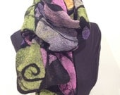 Nuno Felted  Mosaic scarf silk and black merino wool