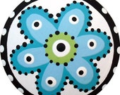 Hand Painted Black White and Turquoise Blue FLOWER Dots Decorative Wood Nursery Drawer Knob Art