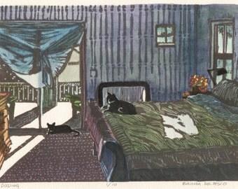 Cats Bedroom Interior Windows Home Original Linocut Print Art Belinda DelPesco