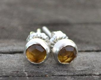 sterling silver and honey quartz stud earrings