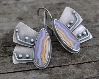 grass blue butterfly earrings - agua nueva agate and sterling silver