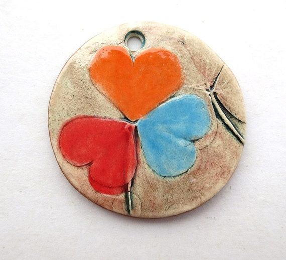 SALE  Handmade Ceramic Pendant Shamrock TriColor Round
