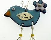 Be Happy Bird  - glass enamel on copper by Kathryn Riechert