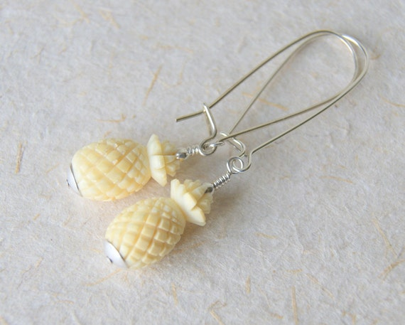 Pineapple Earrings, vintage bone pineapple beads, sterling silver earwires
