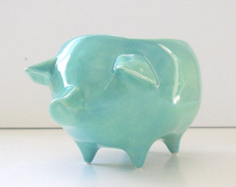 Pig Planter, Ceramic Pig, Succulent Planter, Vintage Design, Aqua Blue, Ceramic Planter, Sponge Holder, Kitchen Decor, Home and Garden