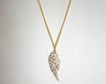 Celebrity Clear Rhinestone Crystal Gold Angel Wing Charm Pendant Necklace