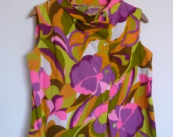vintage psychedelic button up blouse