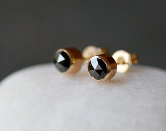 Black Diamond Stud Earrings, Rose Cut Diamonds, Diamond Studs, Gift for Her, 14k Gold Studs, Recycled Gold, Eco Friendly, Conflict Free