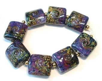 Handmade Glass Lampwork Beads, Rakuli  Nuggets
