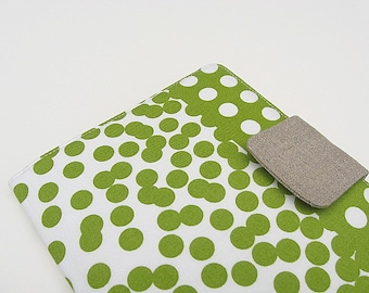 Nook Simple Touch Cover iPad Mini Cover Kindle Fire Cover Kobo Cover Case Ombre Green Dots Border Linen eReader