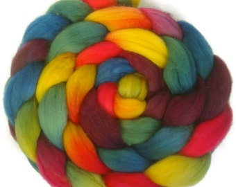 Handpainted Superwash BFL Nylon Wool 80/20 Sock Roving - 4 oz. ARCADE - Spinning Fiber