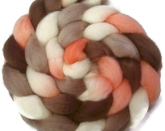 Handpainted BFL Wool Roving - 4 oz. RETRO GIRL - Spinning Fiber