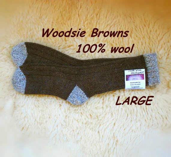 Woodsie Browns - wool socks with contrasting hems heels and toes - LARGE