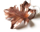 Hand forged Copper Maple Leaf on an 18 inch sterling silver chain - made to order