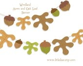 Printable Woodland Acorns and Oak Leaves Banner PDF digital download Scrapbook Party Decorations