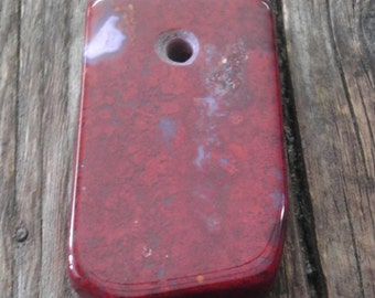Red Jasper Stone Pendant, Slab, Tongue, Natural Stone Piece Drilled by Hand.
