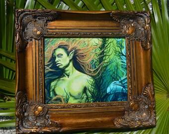 RW2 Original Merman Painting Locryn By Robert Walker green