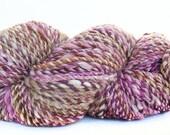 Handspun handdyed yarn Merino wool camel silk and sparkle