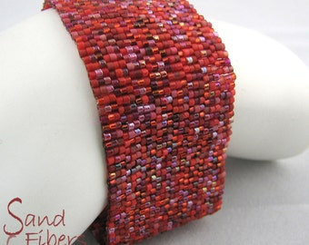 Some Like it Hot, Red Hot Peyote Cuff / Peyote Bracelet  (2471) - A Sand Fibers Made-to-Order Creation