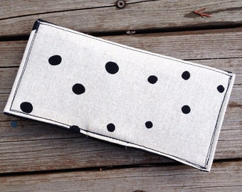 SALE! Off White Polka Dot Fabric and Black Vinyl Wallet with Zipper