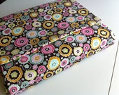 Fabric Laptop Cover in Pink, Brown and Green fully padded closes with Hook and Loop tabs fits dell inspiron