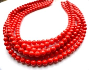 Michelle - Orange Red Czech Statement Multi Strand Necklace