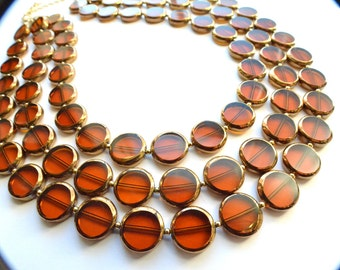The Charlotte- Brown and Gold Glass Necklace