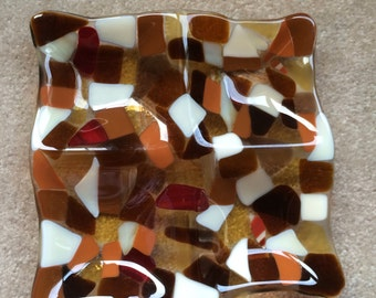 Browns and gold fused glass mosaic plate