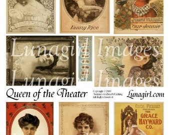 QUEEN of the THEATER digital collage sheet Victorian actresses divas women ladies vintage images altered art ephemera printables DOWNLOAD