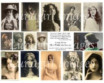 She Walks in Beauty digital collage sheet DOWNLOAD vintage photos images actresses women Byron poem altered art Victorian Edwardian ephemera