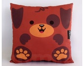 "12 x 12"" Puppy Pillow, Brown Dog, Stuffed Animal Toy, Decorative Pillow, Nursery Decor, Kids Room Decor, Kawaii, Brown Pillow"