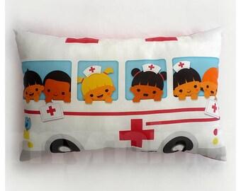 "Travel Pillow, Ambulance Pillow, Lumbar Pillow, Car Pillow, Cotton, Throw Pillow, Cushion, Kids Room Decor, Childrens Toys, 17 x 10"""