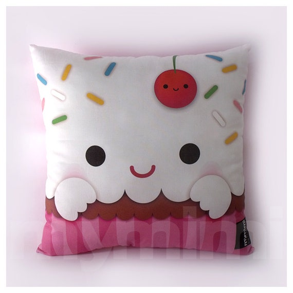 "12 x 12"" Cupcake Pillow, Stuffed Toy, Kids Room Decor, Children's Pillow, Kids Throw Pillow, Food Pillow, Kawaii Pillow"