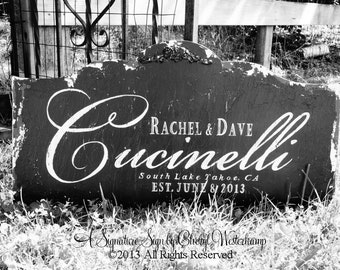 Custom NAME SIGN, Distressed Black, Vintage Signs, ESTABLISHED Name Sign, Shabby Chic Sign, Wedding Gift, Bridal Shower, 30 x 16