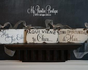 Set of 3 Shabby Chic Wedding Signs, AQUI VIENE tu CHICA, Vintage Wedding Sign, Flower Girl Signs  Ring Bearer Signs, Spanish Wedding Signs