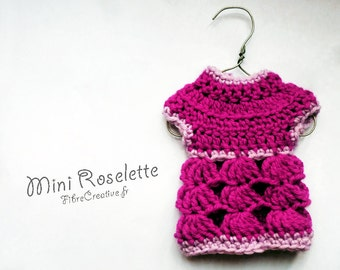 Mini Roselette - EASY beginners Crochet pattern PDF - Miniature doll sweater