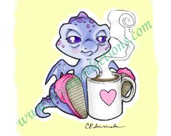 Coffee Dragon Doodle Art Print
