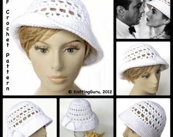 Crochet Sun Hat Pattern - Ingrid Bergman Sun Hat 1940s Retro Style - Instant Download PDF