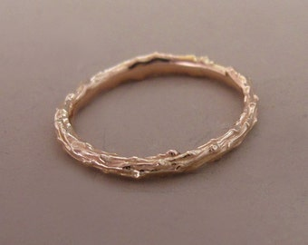14k Rose Gold Twig Stacking Ring - Pine Branch