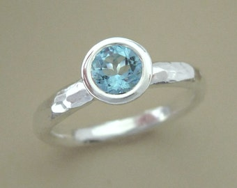 Aquamarine and Sterling Silver Hammered Ring - 5 mm Solitaire Bezel - March Birthstone